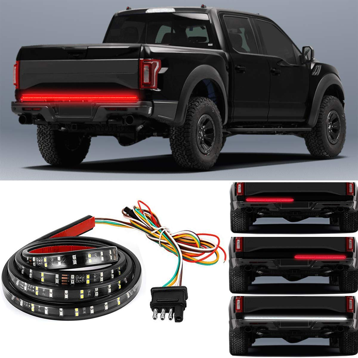 RangerRider SUV Truck LED Tailgate Lights Bar, 60'' Red/White Truck Brake Light Waterproof Double Row Flexible Strip Trailer Tail Lights Turn Signal Back Up Stop Running Light for Pickup RV Van Car by RangerRider