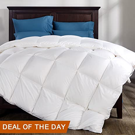 Twin Size Duvet Insert Goose Down Comforter Winter Blanket Solid White 100%  Cotton Cover 45oz