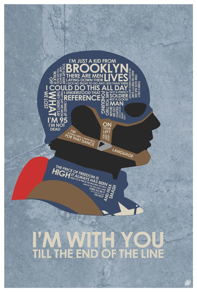 Captain America: Civil War,''I'M WITH YOU TILL THE END OF THE LINE'' Word Art Print Poster (12'' x 18'') by Artist Stephen Poon.