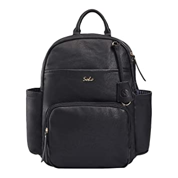 e4e5b060ae81f Amazon.com : SoHo Collections Jackson Vegan Leather Baby Diaper Bag Backpack  with Changing pad Diaper Bag organiger Stroller Straps and Insulated  Pockets 3 ...
