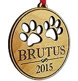 Pet Christmas Ornament Dog Cat Paw Prints 2018 Custom Wood Christmas Puppy Kitten Tree Ornament