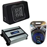 """Kicker Bundle Compatible with Universal Vehicle 46TL7T122 12"""" Loaded Square Thin Sub Box with HA-A400.1 Amplifier and HA-AK8"""