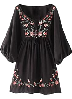 1a5f895eadca6 Doballa Women s Floral Embroidery Mexican Tunic Top Bohemian Flowy Shift  Mini Blouse Dress