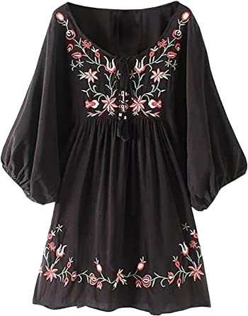 Vintage Black and Floral Polyester Tunic
