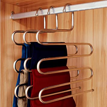 Merveilleux Ecolife Sturdy S Type Multi Purpose Stainless Steel Magic Pants Hangers  Closet Hangers Space