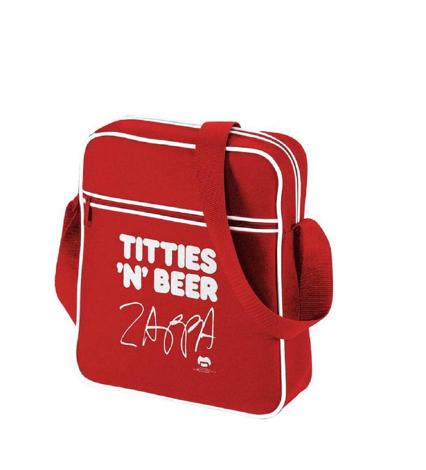 Frank Zappa Titties N Beer Official New Red Mini retro flight Bag