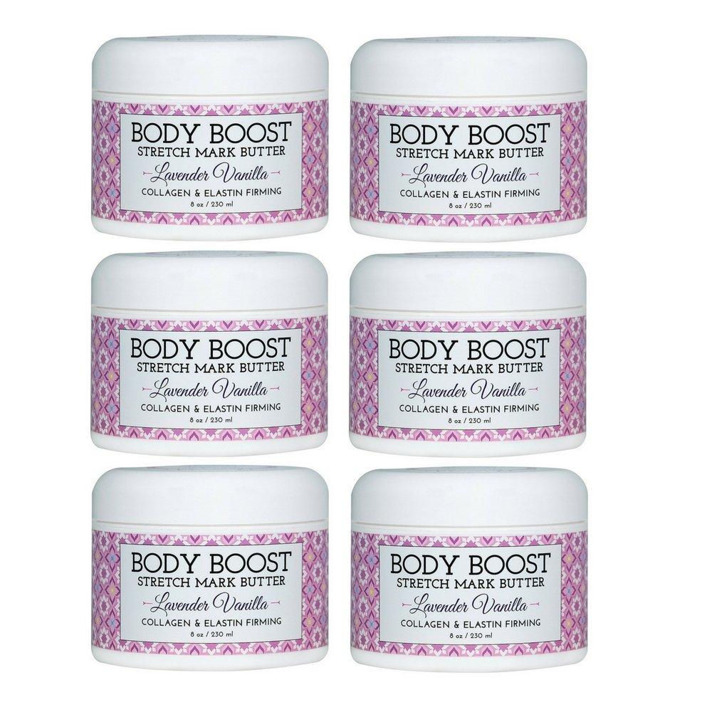 Body Boost Lavender Vanilla Stretch Mark Butter 8 oz.- Pregnancy and Nursing Safe Skin Care (6 Pack)