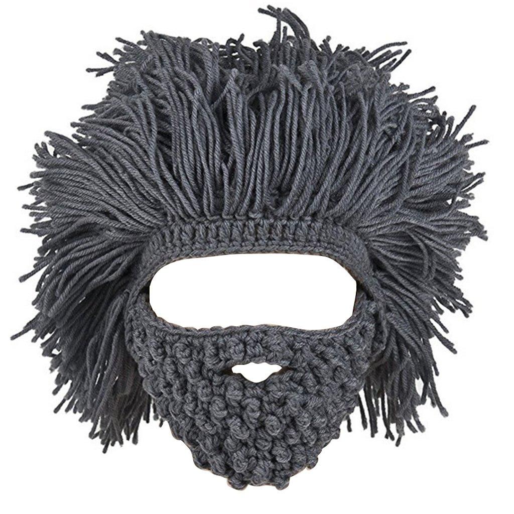MagiDeal Cappello A Barba Cappellino Maglia Mano Inverno Maschera Ski Beanie Berretti per Bambini e Adulto Unisex
