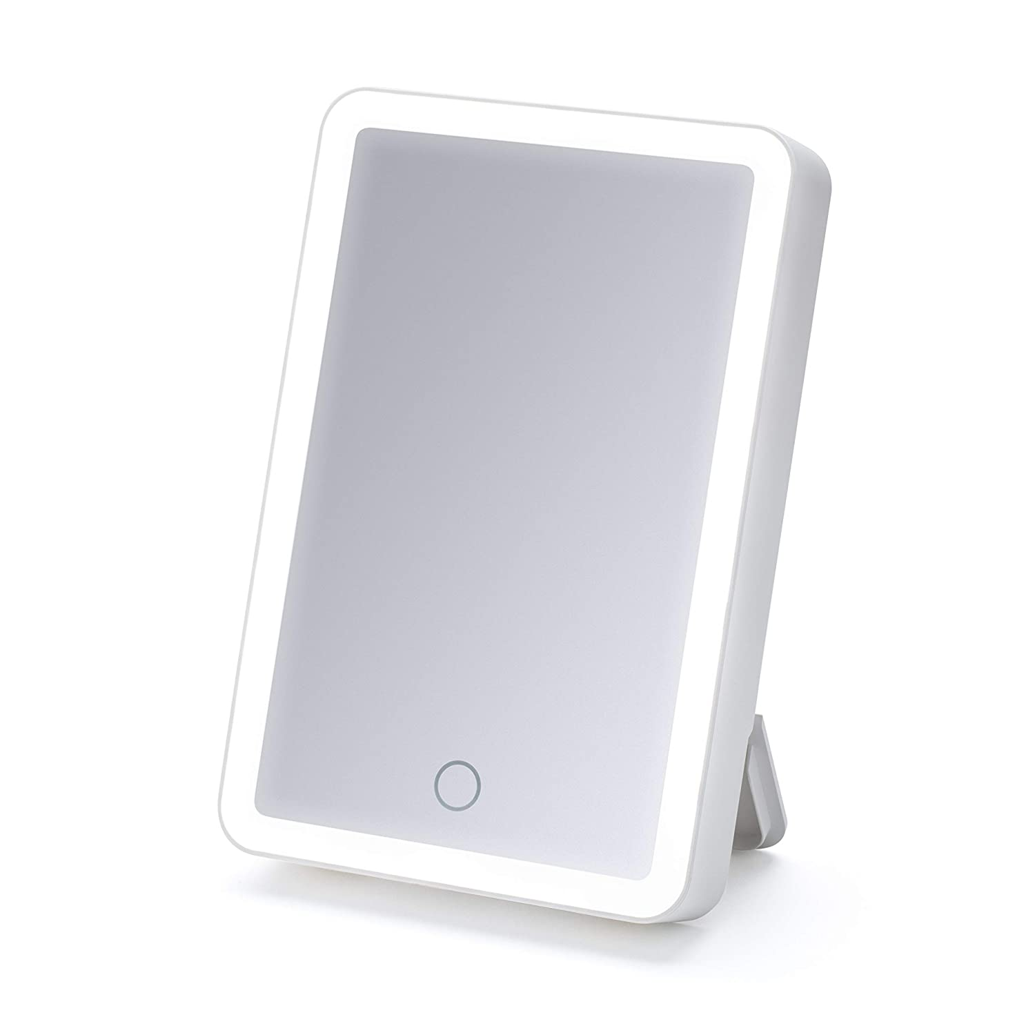 "iHome Portable 6"" X 8"" Lighted LED Vanity Mirror, Portable Makeup Mirror, with Bluetooth Audio, Speakerphone, Built in Battery for Travel Or On The Go! iCVBT1 (White)"