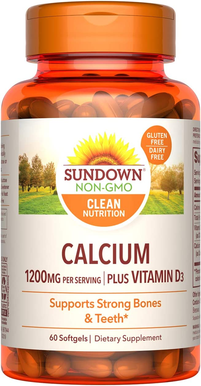 Sundown Calcium 1200mg with Vitamin D3 25mcg Softgels for Immune Support, Non-GMO Dairy-Free, Gluten-Free, unflavored, 60 Count