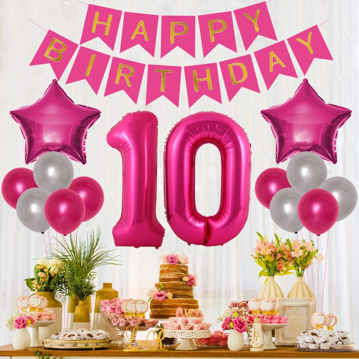 Jollyboom 10th Birthday Decorations for Girls Hot Pink Double Digits 10th Birthday Party Balloons Banner Cake Topper Hang Swirl