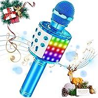 SaponinTree Microfono Inalámbrico Karaoke, Micrófono Karaoke Bluetooth Portátil con Altavoz con Luces de Baile LED para…