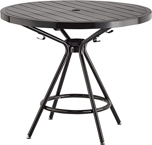 Safco Products CoGo Steel Indoor Outdoor Table, 36 Round, Black