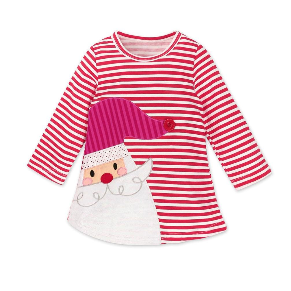 Staron Toddler Baby Girls Striped Dress Long Sleeve Christmas Clothes Princess Dress