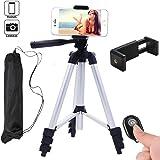 Hi-tec Aluminum Camera Cell Phone Tripod for Iphone Portable Camera Tripod + Phone Tripod Adapter + Bluetooth Remote Control Shutter for Smartphone