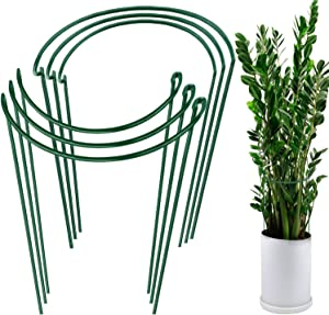 HiGift 6 Pack Plant Support Stakes, Metal Garden Plant Stake, Outdoor Tall Plant Support Ring Cage,Large Plant Supports for Peony, Tomato,Vegetable, Hydrangea,Rose,Flowers Vine (10