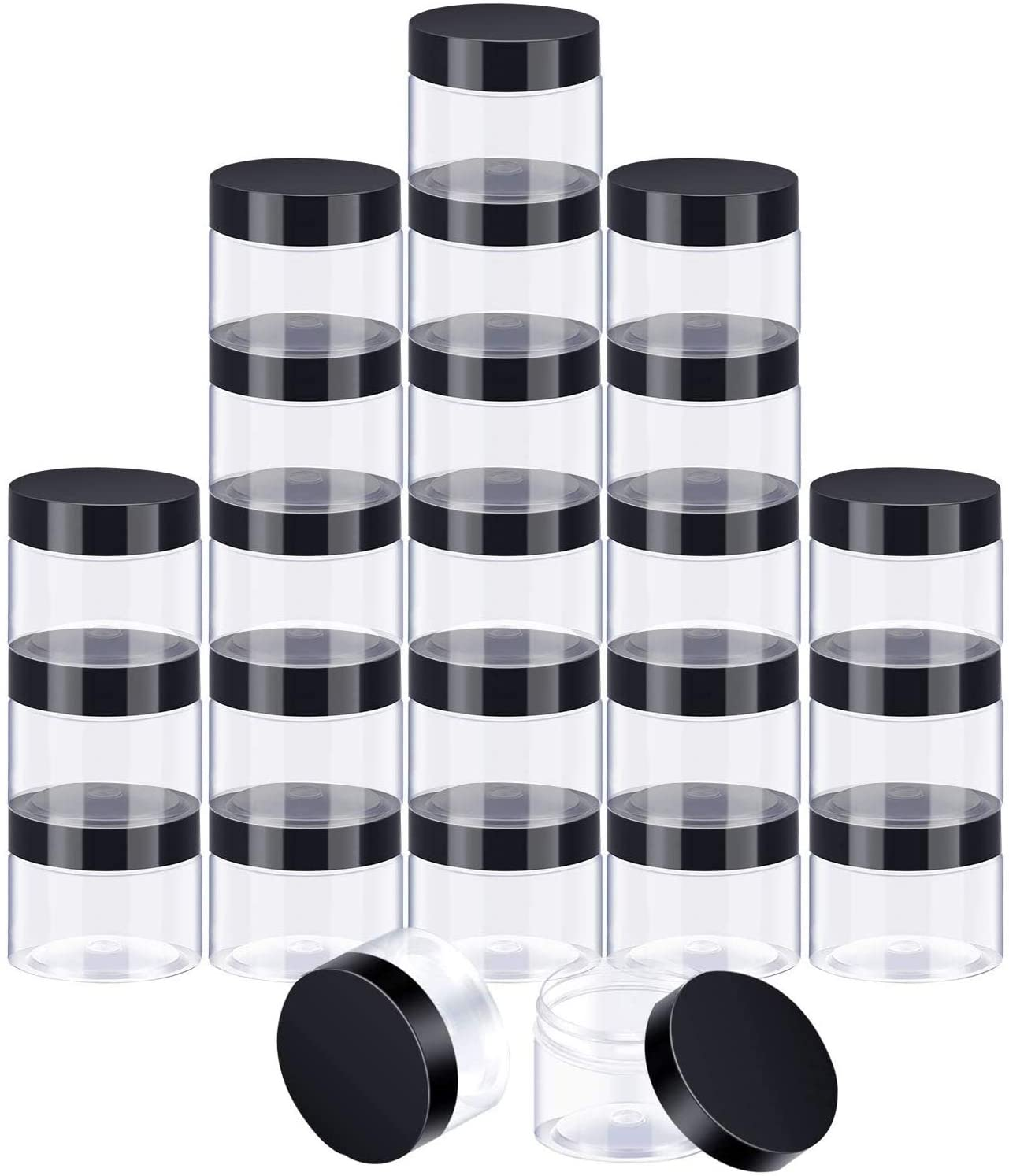 24 Pieces Clear Plastic Round Storage Jars Wide-Mouth Plastic Containers Jars with Lids for Storage Liquid and Solid Products (Black Lid, 2 oz)