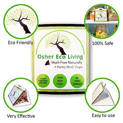 Osher Eco Living Pantry Moth Traps With Pheromones, Glue Trap Pest Control  For Kitchen Or Closet   Get Rid Of Moths, Kid and Pet Safe   Non-Toxic, No