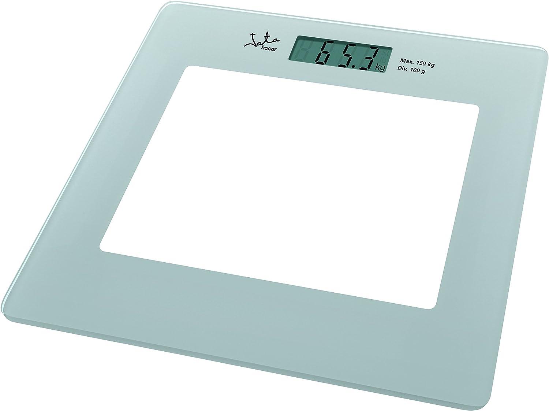 Jata Hogar 290P Báscula electrónica de cristal con visor LCD, Blanco
