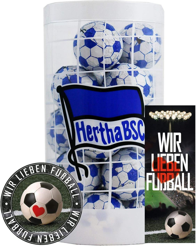 Schokofussb/älle Schokoladen Kugeln Plus je 1 x gratis Aufkleber /& Lesezeichen BSC Berlin Hertha Schokokugeln
