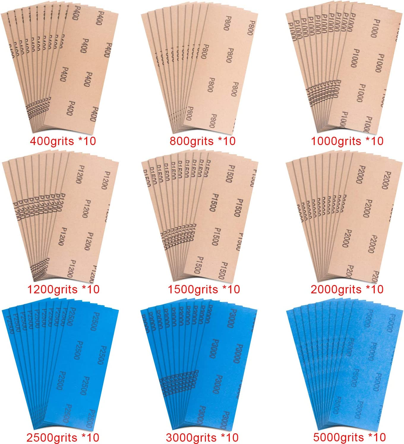 SIQUK 90 Pieces Wet and Dry Sandpaper Assortment 400 to 5000 Grit Sandpaper Assorted 9 x 3.6 Inches Silicon Carbide Abrasive Paper for Automotive Sanding Wood Furniture Finishing