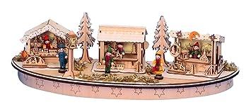 Weihnachtsdeko Romantischer Weihnachtsmarkt Aus Holz   LED Beleuchtet    Holzschmuck   Weihnachtsdekoration Aus Holz   Häuschen