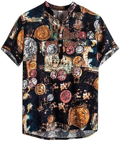 Berimaterry Funky Camisa Señores Manga Corta Bolsillo Delantero Impresión de Hawaii Playa Camisa Hawaiana para Hombre Mujer Casual Camisas Verano Unisex 3D Estampada Funny Shirt S-XL Raya Bohemia: Amazon.es: Ropa y accesorios