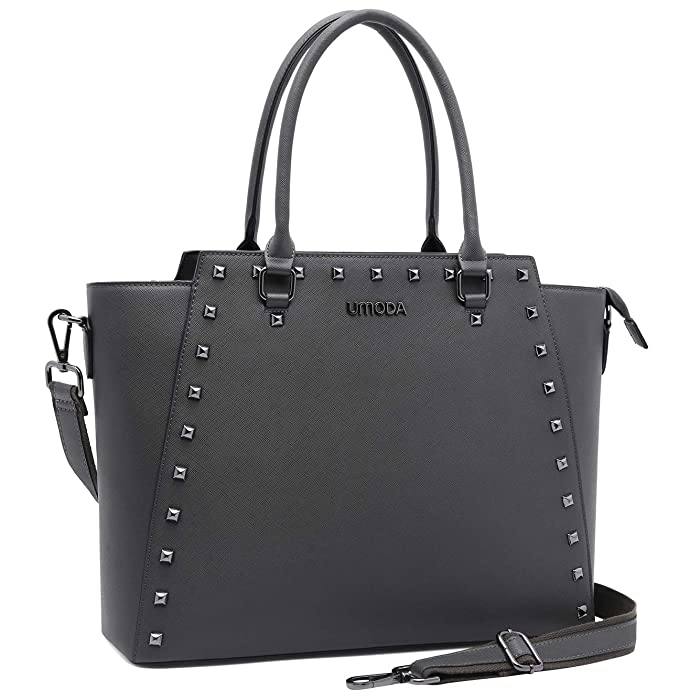 Laptop Bag for Women,13-15.6 Inch Padded Laptop Tote Bag,Studded Design,Multi Pockets Computer Bags for Women,Gray