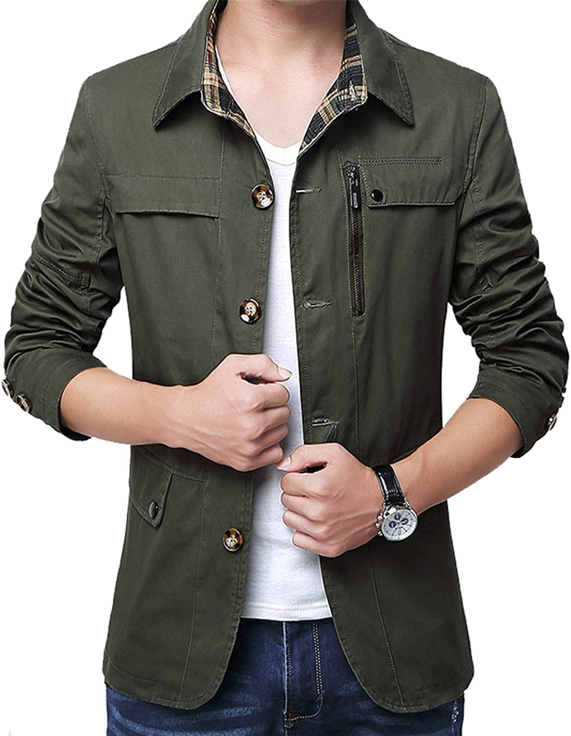 New Mens Jacket Coat 4XL Casual Solid Men Outerwear Slim Fit Khaki Army Cotton Male Jackets SA220 Army Green XXXL