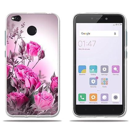 FUBAODA Funda Xiaomi Redmi 4X Carcasa Ultra Fino de Cristal Claro,Dibujo Rosa Fantasía Rojo Claro, Duradera, Suave al Tacto,[ [Protección Goma ...