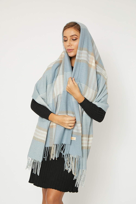 Oversized Colorful Tassel Plaid Blanket Tartan  Thick Warm Scarf Warmer Pashmina Shawl and Soft Cashmere Feel Shawl Wraps