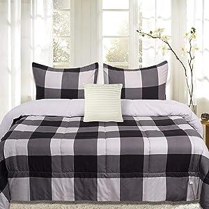 Sweet Home Collection Comforter Set 4 Piece Buffalo Check Plaid Design Soft and Luxurious All Season Down Alternative Reversible Bedding - 2 Shams & Throw Pillow, King, Black/Light Gray