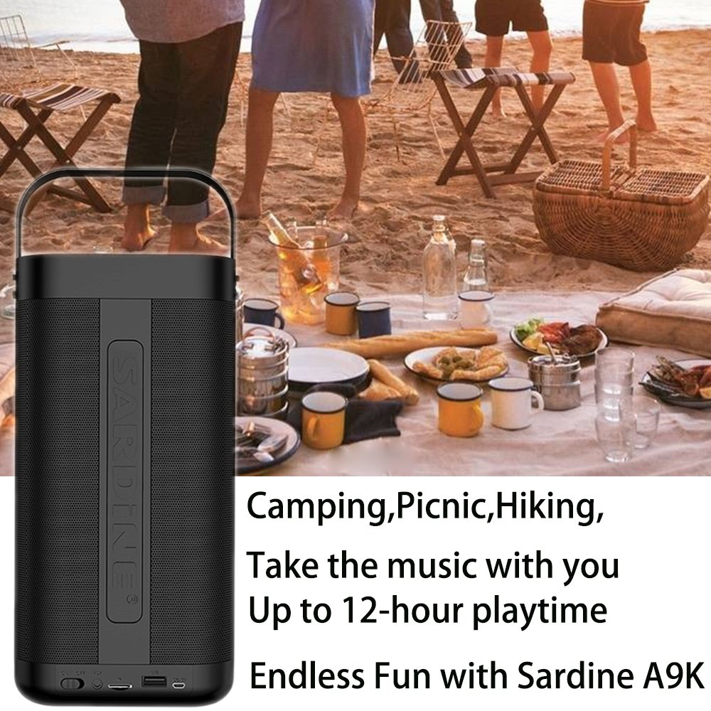 SARDiNE Outdoor Bluetooth Speaker, 16W Output from Dual 8W Drivers, Two Passive Subwoofers, Built-in Mic 5200mah Battery, Perfect for Karaoke, iPhone, iPad, Samsung GALAXY Series(Black,with Mic) by SARDINE (Image #2)