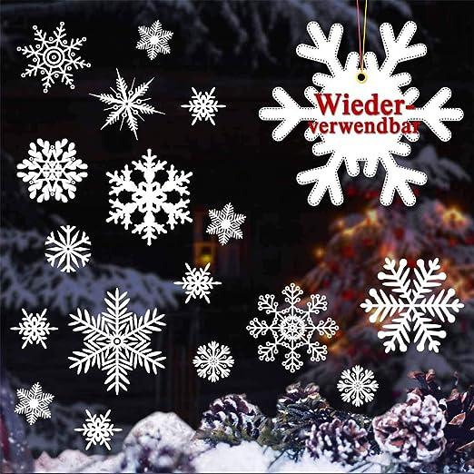 22 Schneeflocken Aufkleber Fenstertattoo Winter Weihnachten Dekoration Sterne