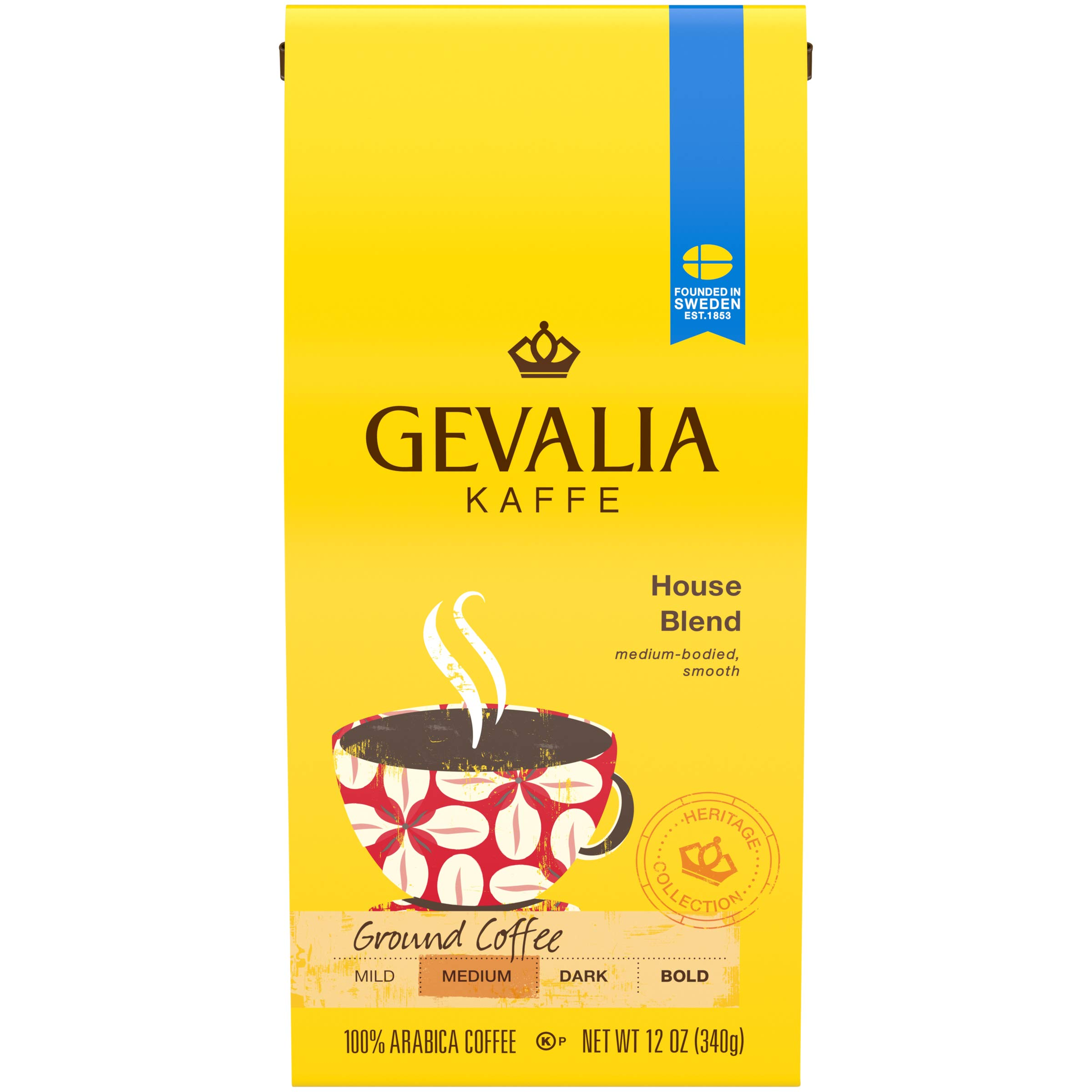 Gevalia House Blend Ground Coffee, 12 Oz, Pack of 6