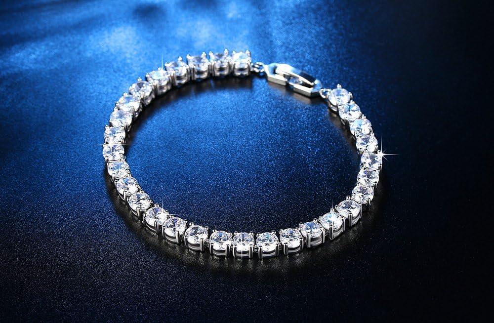 Epoch World Tennis Bracelet White Gold Plated Bracelet for Women Cubic Zirconia Womens Bracelet Diamond Silver Bracelet Sparkling Silver Bracelet for Girls Silver Bracelets for Teen Girls Women