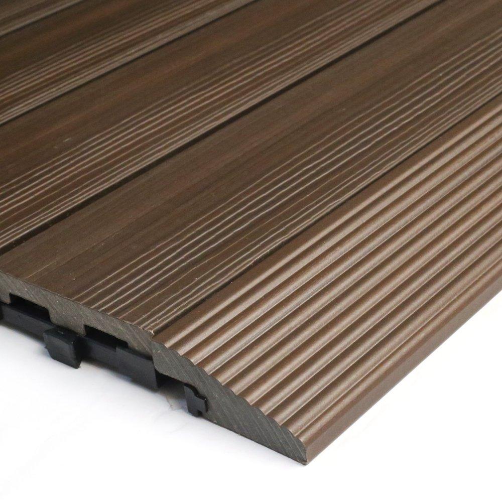 NewTechWood QD-SF-WN QuickDeck Composite Deck Tile Side Trim, 2-Inch x 1-Feet, Spanish Walnut, 4-Piece