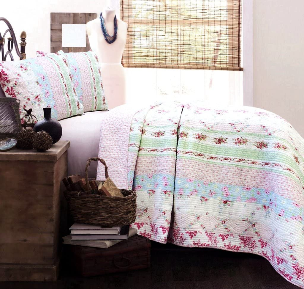 Cozy Line Home Fashions Wild Rose Floral Striped Cotton Reversible Quilt Bedding Set, Coverlet, Bedspread (Wild Rose, Queen - 3 Piece)