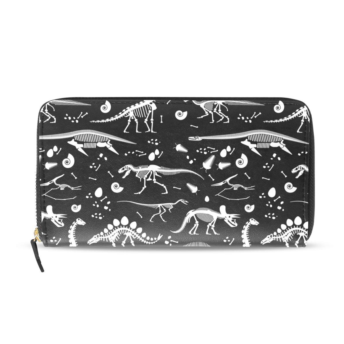 Womens Zipper Wallet Dinosaur Skeleton Clutch Purse Card Holder Bag