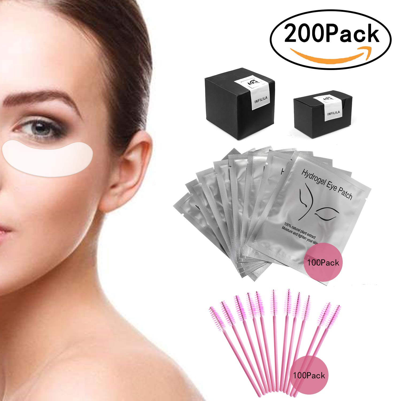 INFILILA 200 Pack Eye Gel Pads Set-100 Pair Under Eye Patches Pads For Eyelash Extensions,100 Pcs Disposable Lash Brushes Premium Eye Mask For Daily Makeup