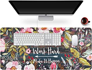 "Anyshock Desk Mat, Extended Gaming Mouse Pad 35.4"" x 15.7"" XXL Keyboard Laptop Mousepad with Stitched Edges Non Slip Base, Water-Resistant Computer Desk Pad for Office and Home (Floral Wreath)"