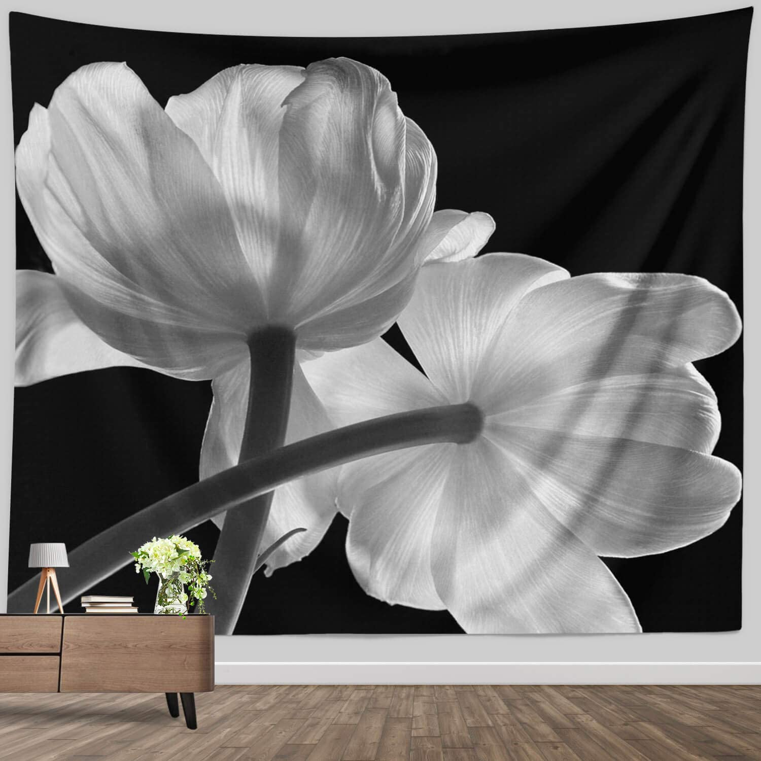 Floral Tapestry for Girls Bedroom, Modern White Flower on Black Backdrop Artwork Fabric Wall Hanging for Home Office Dorm Wall Decor Blanket Large, 60 x 80