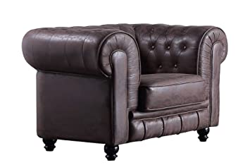 SuenosZzz - Sofa clásico Modelo Chester Color Marron Vintage. Sofa Vintage (1 Plaza), tapizado en Tela, Botones en Respaldo y reposabrazos | Sofas ...