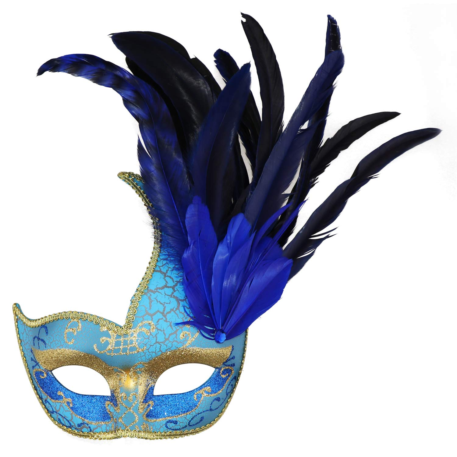 Thmyo Feather Masquerade Mask, Venetian Costume Christmas Party Mask.