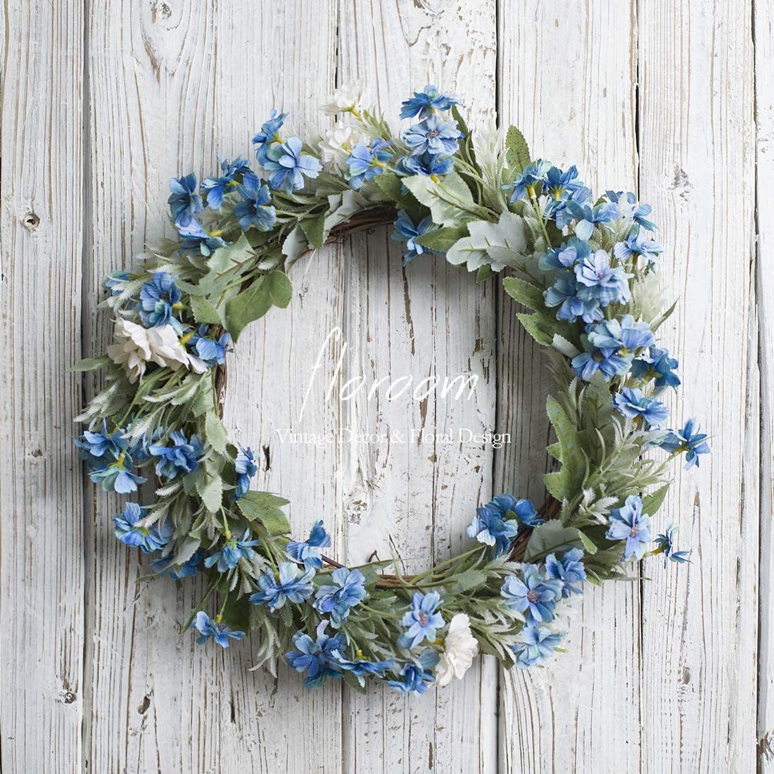 Floral Wreath, Door Wreath, Artificial Blue Wreath for Front Door 15'', Front Door Decorations Wall Decor