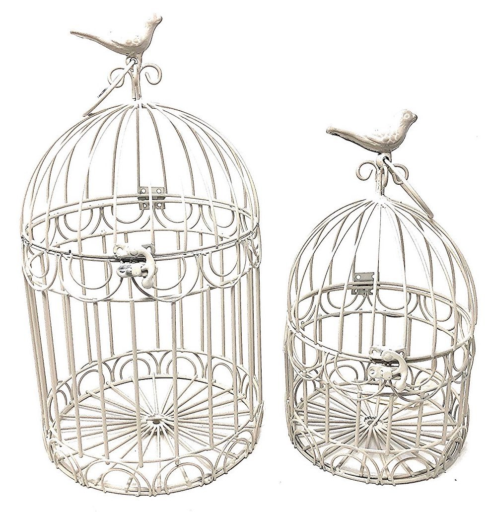 Decorative Bird Cages Wedding Reception Gift Card Holder Centerpiece Garden Ornaments Set of 2 (White) by S.T.C.