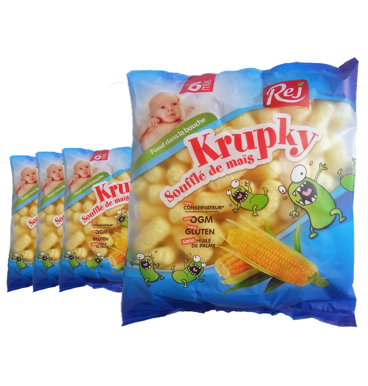 Krupky Soufflé de Maïs Nature (dès 6 mois) - Lot de 4 sachets de 50g REJ