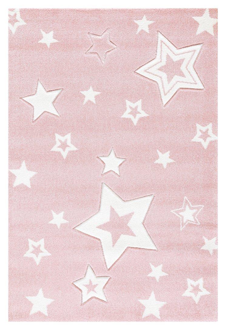 Kinderteppich Love Rugs Starlight rosa Weiss 100 x 160 cm