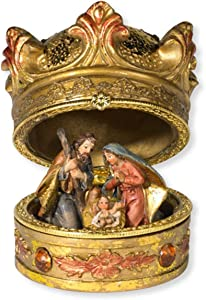 Christmas Decorations Gold-Toned Hinged Crown Nativity Scene Box, 3 Inches