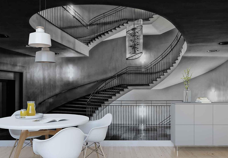 Papel Tapiz Fotomural - Edificio Escalera De Caracol Puerta Del Ascensor - Tema Arquitectura - XXL - 416cm x 290cm (an. x alto) - 4 Tiras - impreso en papel 130g/m2 EasyInstall -